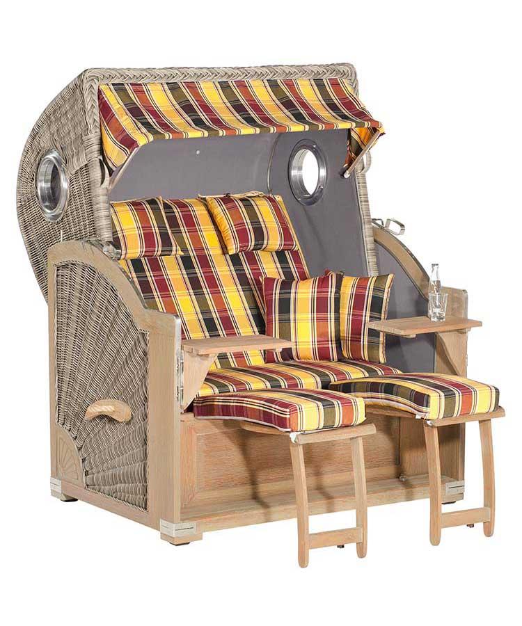 "Strandkorb ""Rustikal 500 PLUS Comfort-1216"" rustic-washed 3/4-Lieger"