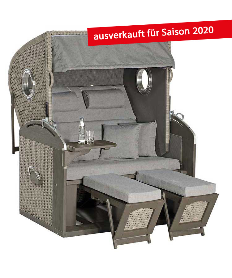 "Strandkorb ""Rustikal 305 Z Bullauge Comfort XL 1222"" Liegermodell"